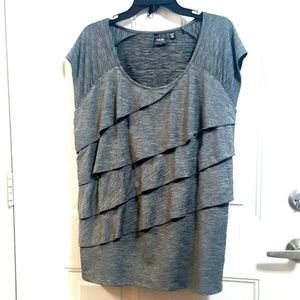 RAFAELLA XXL Gray Stretch Tiered Ruffled Blouse